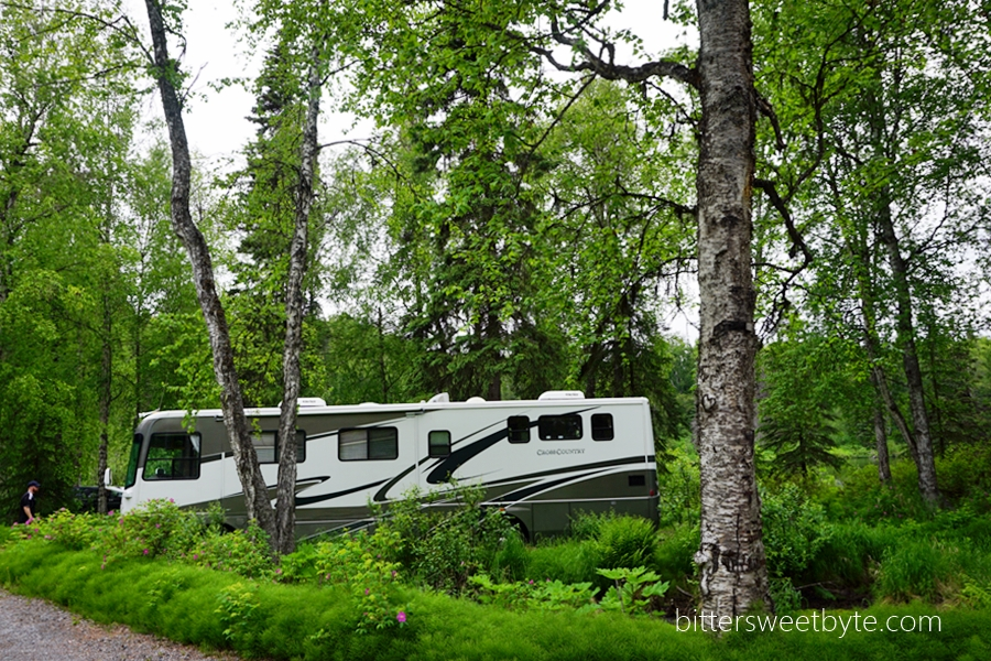 motorhome camping at south rolly lake alaska 3