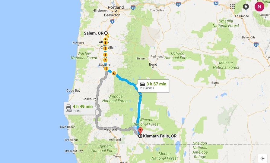 map-from-salem-to-klamath-falls