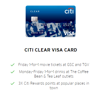 Fee Coffee Bean Every week with Citibank Card